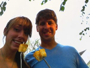 Putting our Wedding presents to good use =)  Roasting Marshmallows over the grill after dinner!!!!