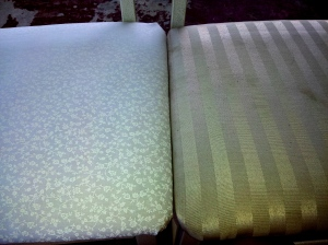 The before grungy seat is on the right, and the after cheery one is on the left.   I think I did good work =)