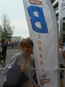 When I picked up my packet of information it told me that I was in Corral B.  I thought that there was only A, B, and C meaning that I am only an average runner =(.  Turns out that there is A-G so yeah, I was pretty far up there!