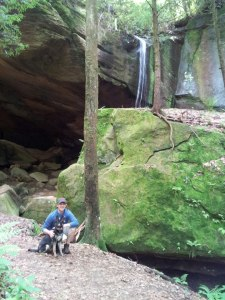 Will and Izzy Pup at the Arch/Waterfall =)