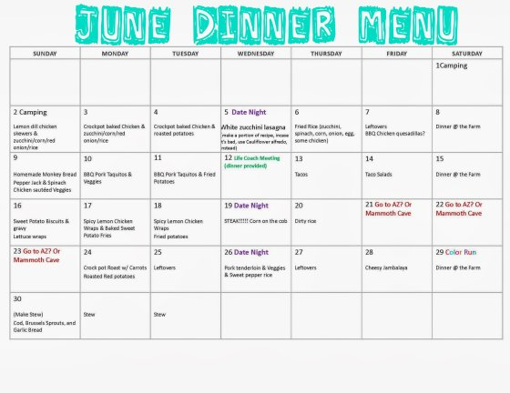 June Dinner Menu