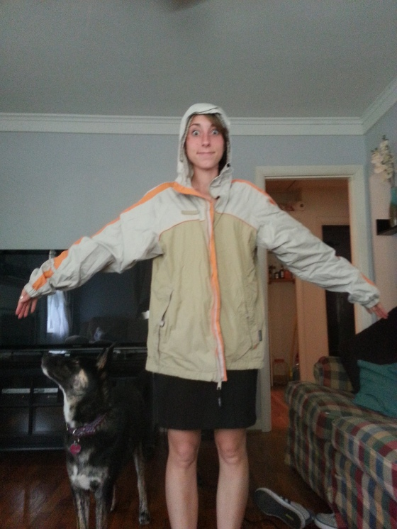Here Izzy Pup and I are, modeling the jacket!