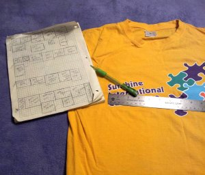 this is the shirt from the Camp in China that Will and I met at. =) this paper isn't a layout, just a visualization of all the measurements.