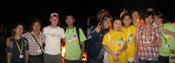 """Here we are at the same bonfire with our life groups.  If you notice, in the picture of me, you can see Will's hear right back there.  This is when I knew him as """"the guy in the Red's hat who thinks I am cute"""" and he knew me as """"the cute girl who wouldn't wake up to let us in our rooms, and didn't tell me the water is solar heated....."""""""