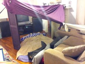 """A """"Camp-in"""" for my birthday, because it was too cold for a camp out."""