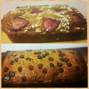 The Bottom one is Chocolate Chip Zucchini Banana Bread.  The Top one is my concoction: GF Strawberry Oat Zucchini Banana Bread!