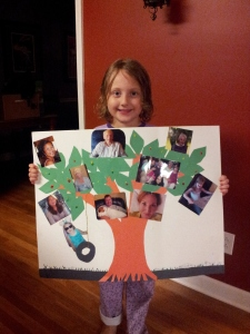 we got to help Evie with her KINDERGARTEN homework project - making a family tree.  who knew they had that kind of homework in kindergarten....