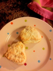 I made the biscuits (the girls ate up the heart shape... literally lol)   and John made the bacon.  He makes it just the way Will likes!