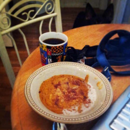 Pumpkin Bread Oatmeal =) and coffee in the thrift store Lion King mug =)  mmmm.... fall!
