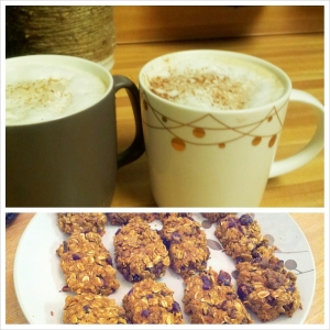 Homemade Pumpkin Spice Lattes and Pumpkin-Craisin-Walnut Granola bars =)