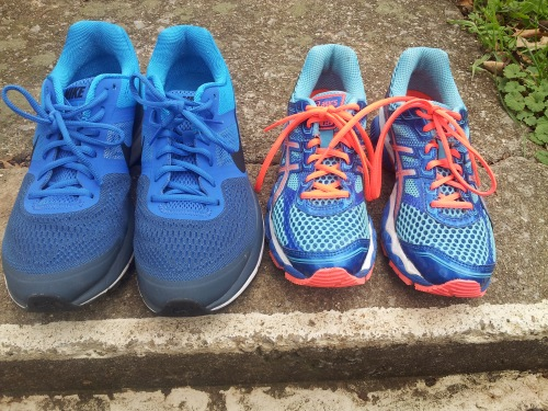 Our new shoes! Mine are Asics Cumulus 15 Narrow  and Will's are Nike Pegasus+ 30 Wide