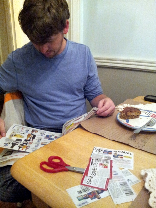 Typical Sunday Morning in the Pomeroy Life.  Clipping Coupons over brunch before church =)