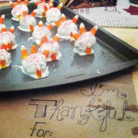 Kudos to Pinterest for the place mats, but I actually thought up the little gobblers ALL ON MY OWN!