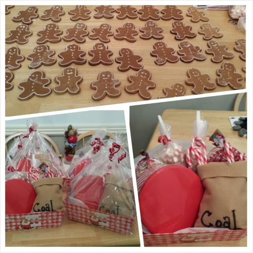 Here are the goody baskets that one of my bosses commissioned me to make this year for some of our clients.  They are mining clients so I made peanut clusters, which look like coal, ad put them in bags that said coal.