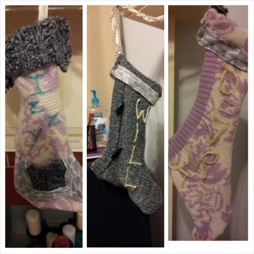 The stockings I made out of Goodwill sweaters last Christmas =)