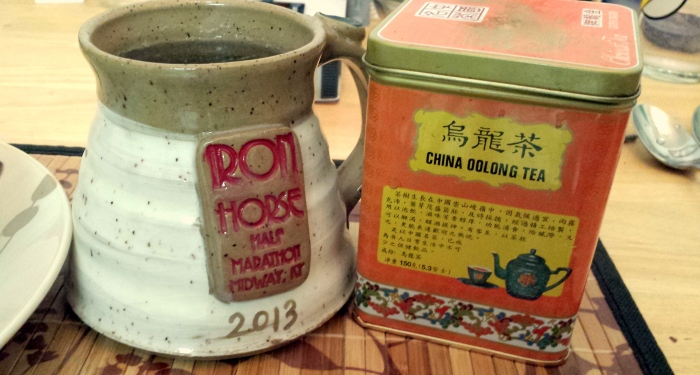 The Chinese Tea Will brought me from Chinatown in DC.  Went perfectly with my soup tonight.  In the mug that I won in my race in October.