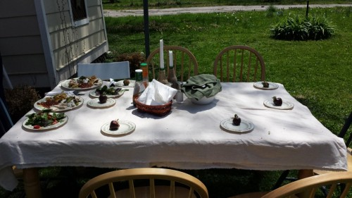 one of the tables, with a chocolate covered strawberry for everyone. =) We moved our kitchen table outside since it was such a nice day and our house is tiny!