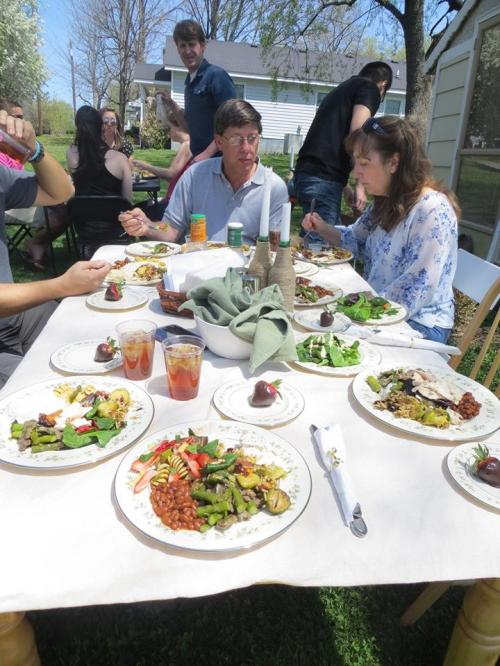 Friends and family together at our home on Sunday. Everyone enjoying their food =)